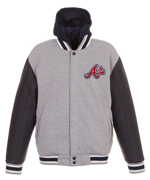Atlanta Braves Reversible Fleece Jacket with Faux Leathers Sleeves