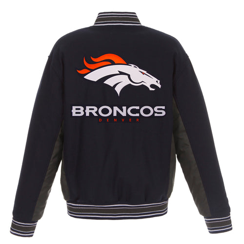 Denver Broncos Reversible Wool Jacket (Front and Back Logos)