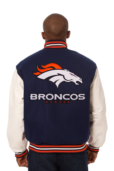 Denver Broncos Embroidered Wool and Leather Jacket