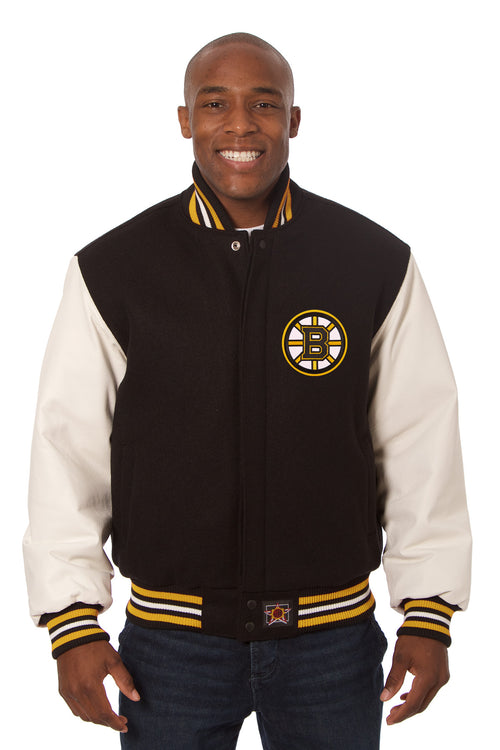 Boston Bruins Embroidered Wool and Leather Jacket