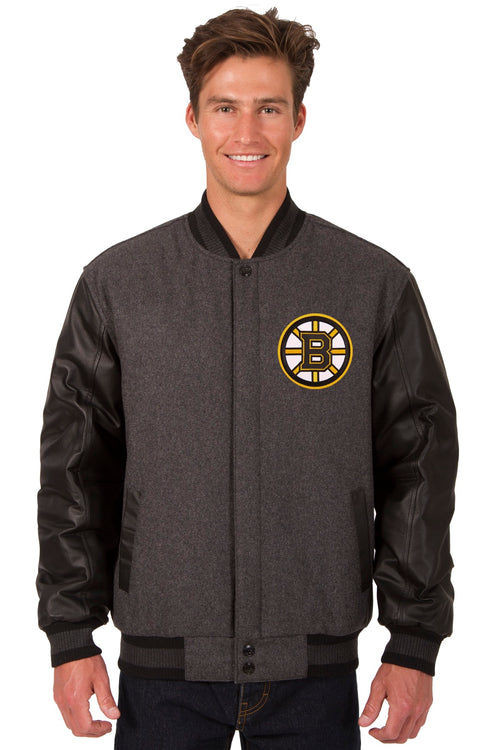 Boston Bruins Wool and Leather Reversible Jacket (Front and Bacj Logos)