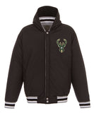 Milwaukee Bucks Reversible Fleece Jacket with Faux Leather Sleeves