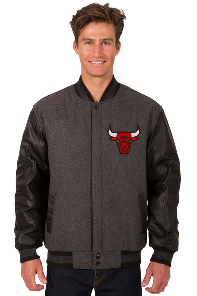 Chicago Bulls Reversible Wool and Leather Jacket (Front and Back Logos)