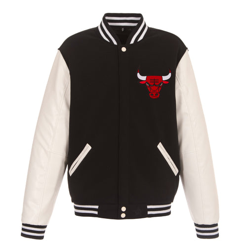 Chicago Bulls Reversible Fleece and Faux Leather Jacket (Front and Back Logos)