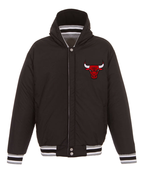 Chicago Bulls Reversible Fleece and Faux Leather Jacket (Front Logos Only)