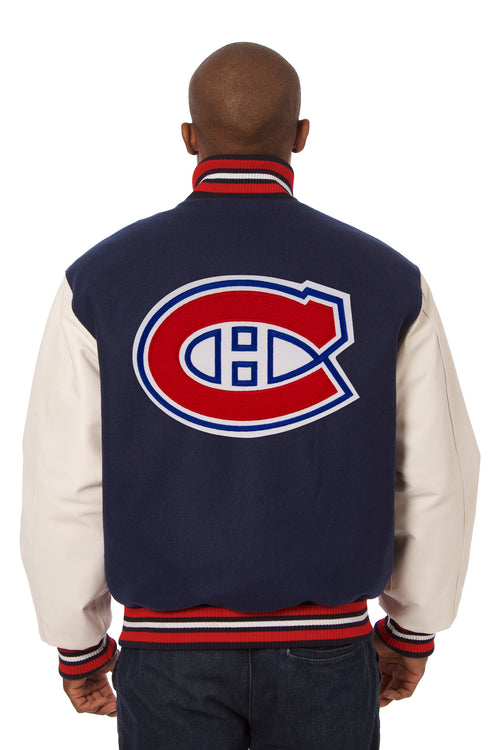 Montreal Canadiens Embroidered Wool and Leather Jacket