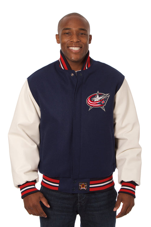 Columbus Blue Jacket Embroidered Wool and Leather Jacket