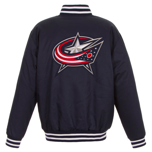 Columbus Blue Jackets Poly-Twill Jacket (Front and Back Logo)