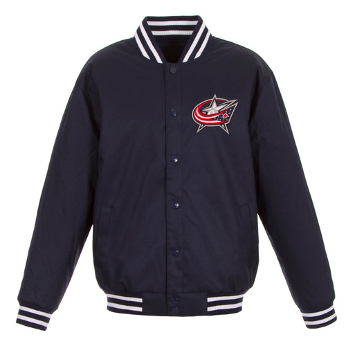 Columbus Blue Jackets Poly-Twill Jacket (Front Logo Only)