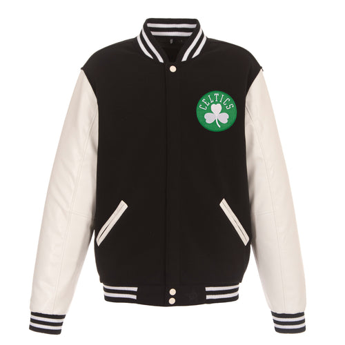 Boston Celtics Reversible Fleece and Faux Leather Jacket