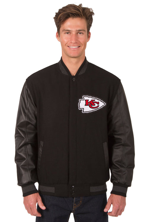 Kansas City Chiefs Reversible Wool and Leather Jacket (Front and Back Logos)