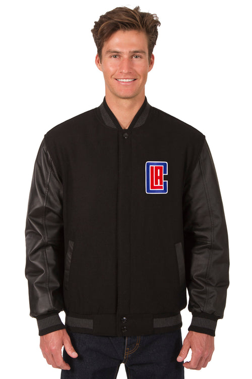 Los Angeles Clippers Reversible Wool and Leather Jacket (Front Logos Only)