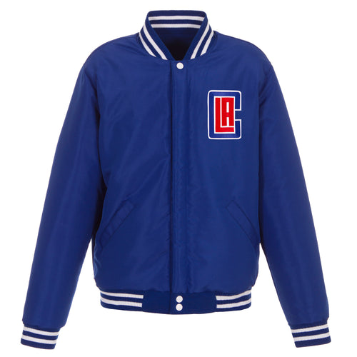 Los Angeles Clippers Reversible Fleece and Faux Leather Jacket (Front Logos Only)