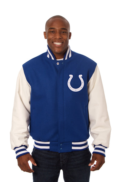 Indianapolis Colts Embroidered Wool and Leather Jacket