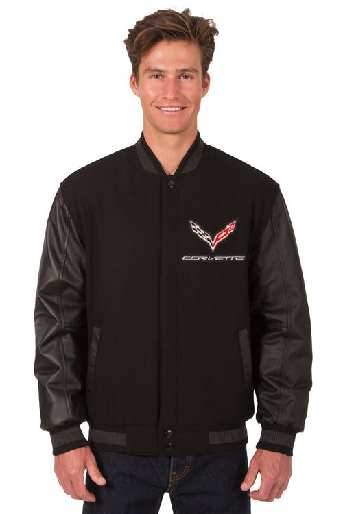 Corvette Reversible Wool and Leather Jacket