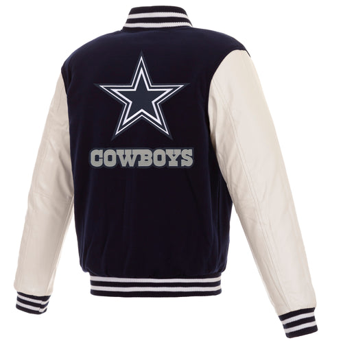 Dallas Cowboys Reversible Fleece Jacket with Faux Leather Sleeves