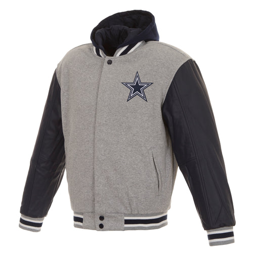 Dallas Cowboys Reversible Fleece Hooded Jacket with Faux Leather Sleeves