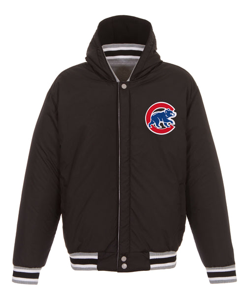 Chicago Cubs Reversible Fleece Jacket with Faux Leather Sleeves