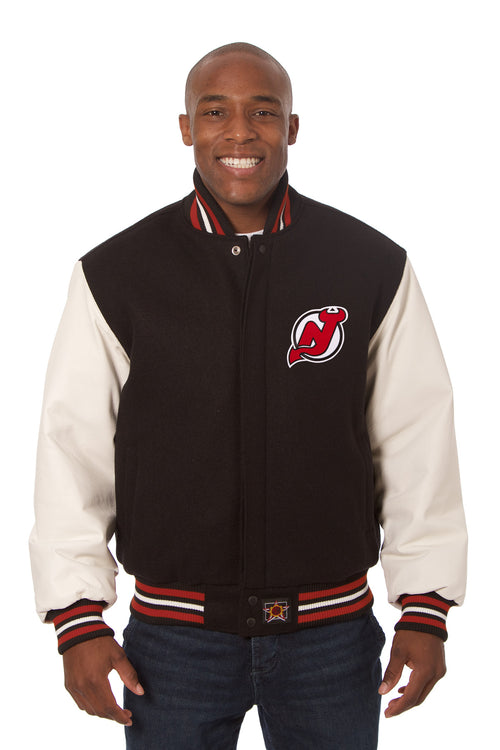 New Jersey Devils Embroidered Wool and Leather Jacket