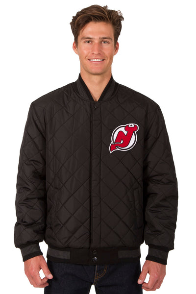 New Jersey Devils Wool and Leather Reversible Jacket (Front and Back Logos)