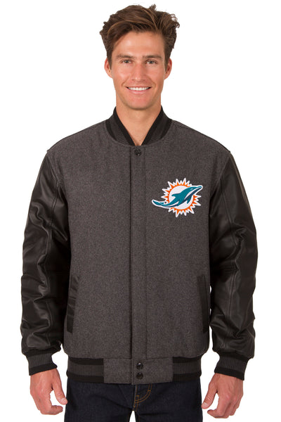 Miami Dolphins Reversible Wool and Leather Jacket
