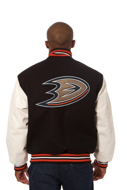 Anaheim Ducks Wool and Leather Jacket