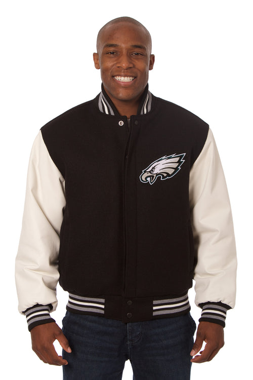 Philadelphia Eagles Embroidered Wool and Leather Jacket