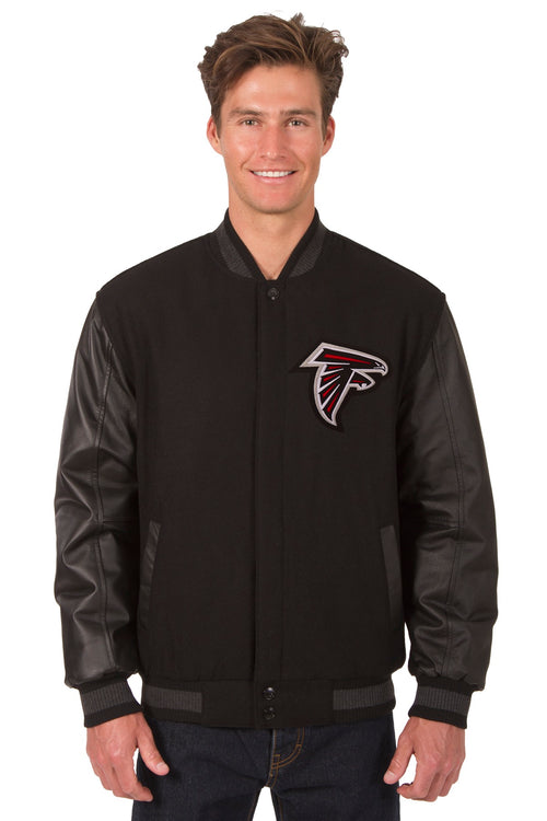Atlanta Falcons Reversible Wool and Leather Jacket (Front and Back Logos)