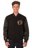 Calgary Flames Wool and Leather Reversible Jacket (Front Logos Only)