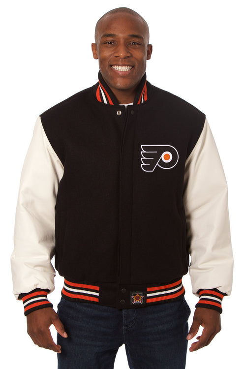 Philadelphia Flyers Embroidered Wool and Leather Jacket