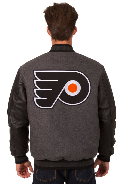 Philadelphia Flyers Wool and Leather Reversible Jacket (Front and Back Logos)