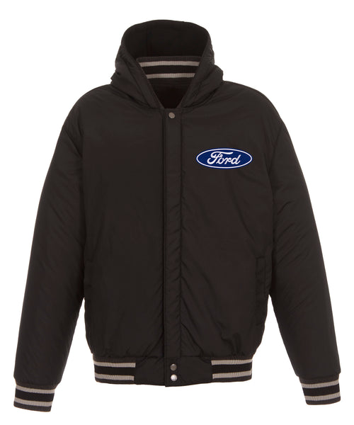 Ford Hooded Reversible Fleece Jacket with Faux Leather Sleeves