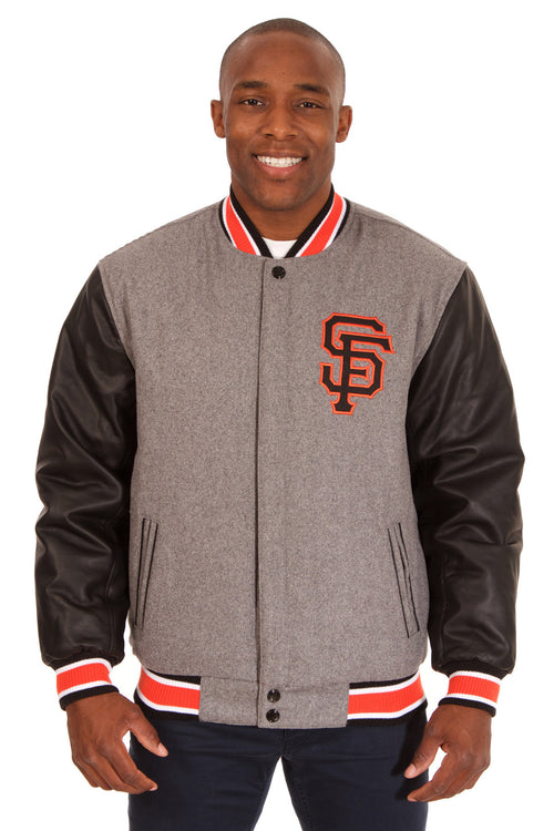San Francisco Giants Reversible Wool Jacket with Faux Leather Sleeves