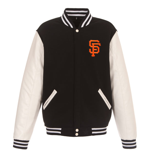 San Francisco Giants Reversible Fleece Jacket with Faux Leather Sleeves