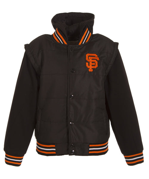 San Francisco Giants Kid's Faux Leather Coated Nylon Vest