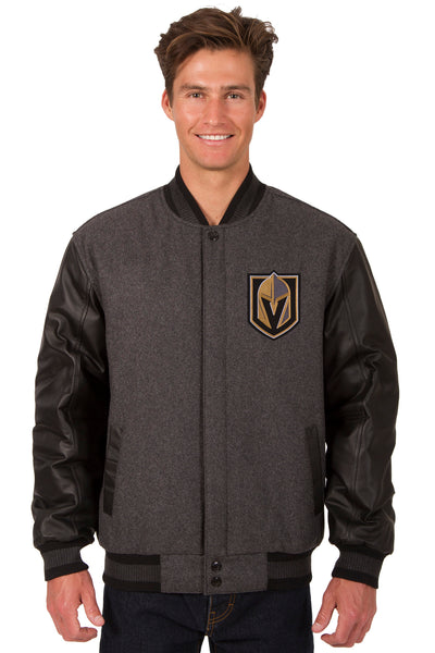 Vegas Golden Knights Wool and Leather Reversible Jacket (Front Logos Only)