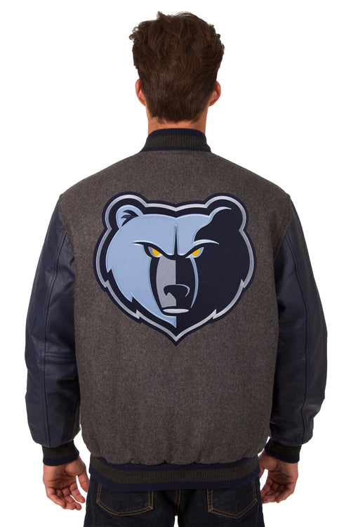 Memphis Grizzlies Reversible Wool and Leather Jacket (Front and Back Logos)