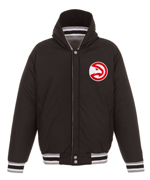 Atlanta Hawks Reversible Fleece and Faux Leather Jacket