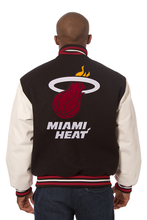 Miami Heat Embroidered Wool and Leather Jacket
