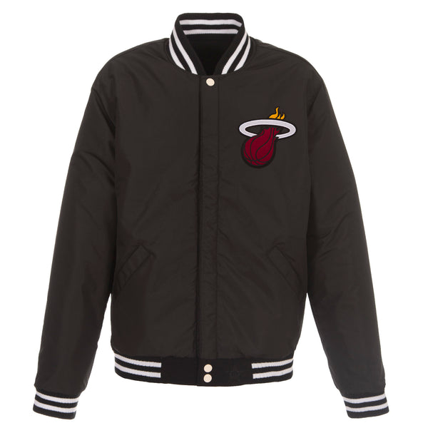 Miami Heat Reversible Fleece and Faux Leather Jacket (Front and Back Logos)