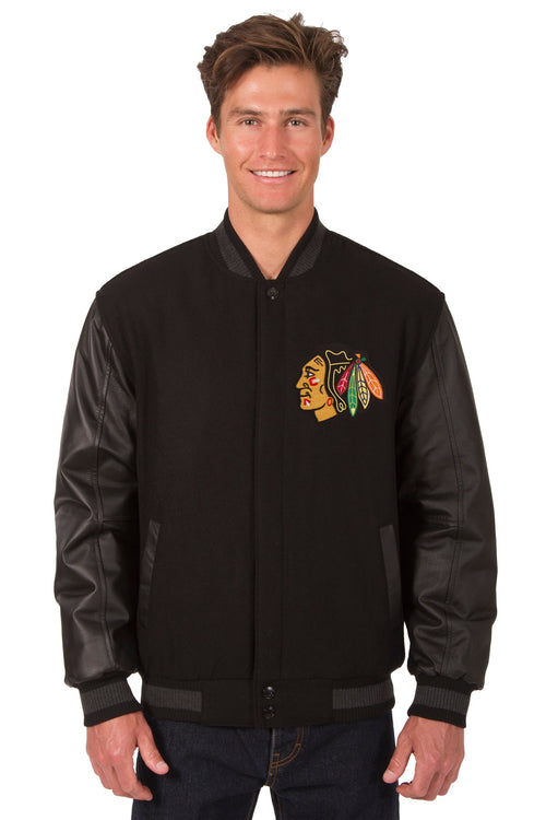 Chicago Blackhawks Wool and Leather Reversible Jacket (Front and Back Logos)