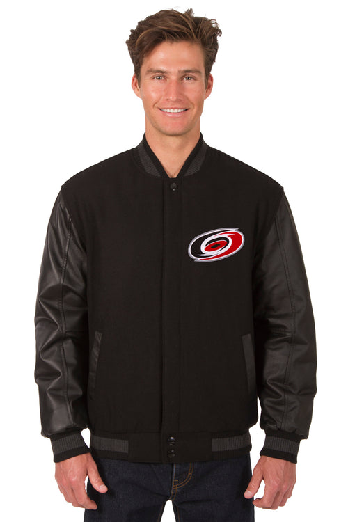 Carolina Hurricanes Wool and Leather Reversible Jacket (Front Logos Only)