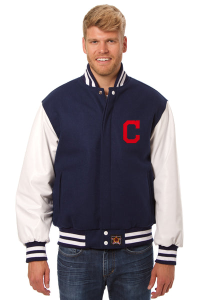 Cleveland Indians Embroidered Wool and Leather Jacket