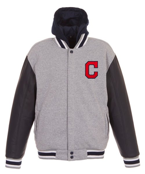Cleveland Indians Reversible Fleece Jacket with Faux Leather Sleeves