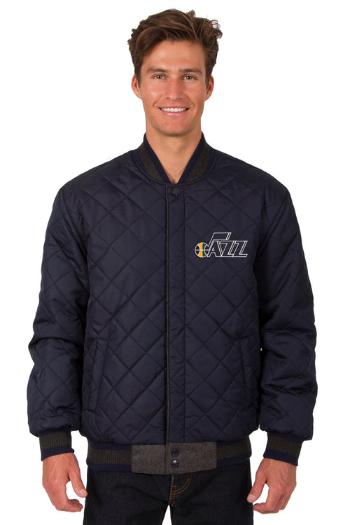 Utah Jazz Reversible Wool and Leather Jacket (Front Logos Only)