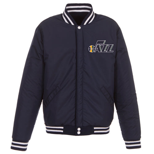 Utah Jazz Reversible Fleece and Faux Leather Jacket (Front Logos Only)