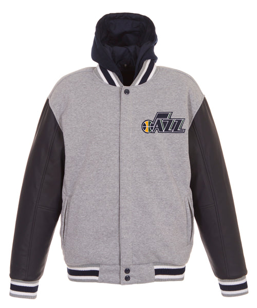 Utah Jazz Reversible Fleece and Faux Leather Jacket