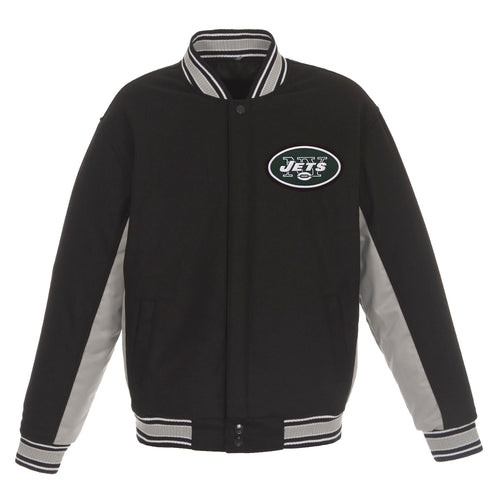 New York Jets Reversible Wool Jacket (Front and Back Logos)