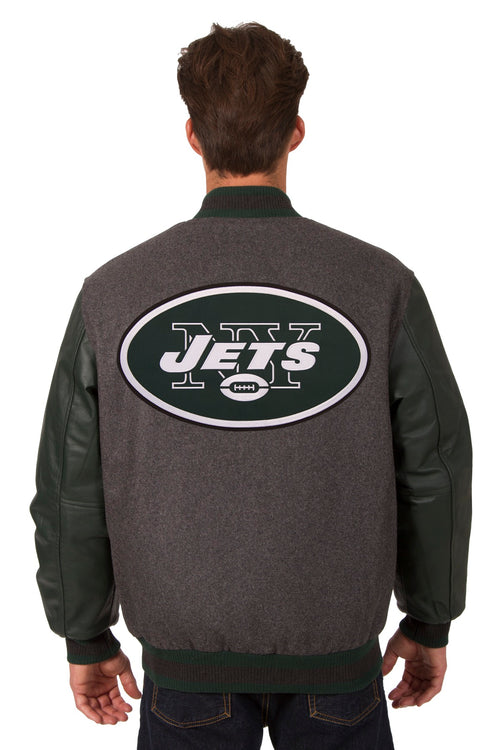 New York Jets Reversible Wool and Leather Jacket (Front and Back Logos)