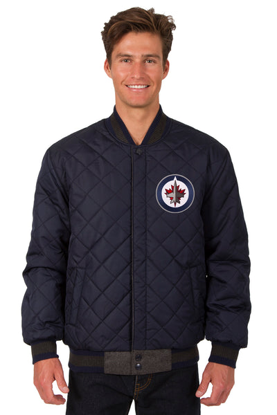 Winnipeg Jets Wool and Leather Reversible Jacket (Front Logos Only)